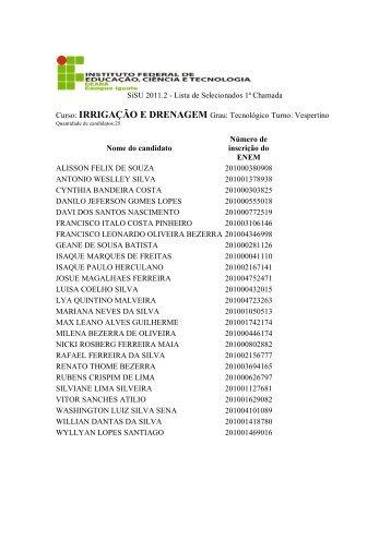 SiSU 2011.2 - Lista de Selecionados 1ª Chamada Curso ...