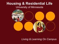 Why Live On Campus? - Housing & Residential Life - University of ...