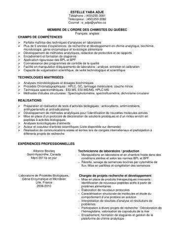 ESTELLE YABA ADJE MEMBRE DE L'ORDRE DES CHIMISTES DU ...