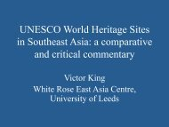 UNESCO World Heritage Sites in Southeast Asia: a comparative ...