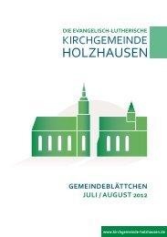 Gemeindeblättchen Juli / August 2012 - Kirchgemeinde Holzhausen