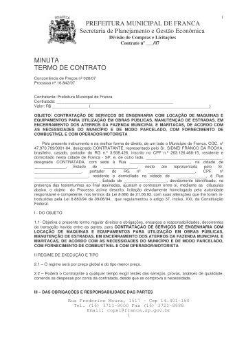 (contrato CC LOCAÇÃO MAQUINAS 2007) - Prefeitura de Franca