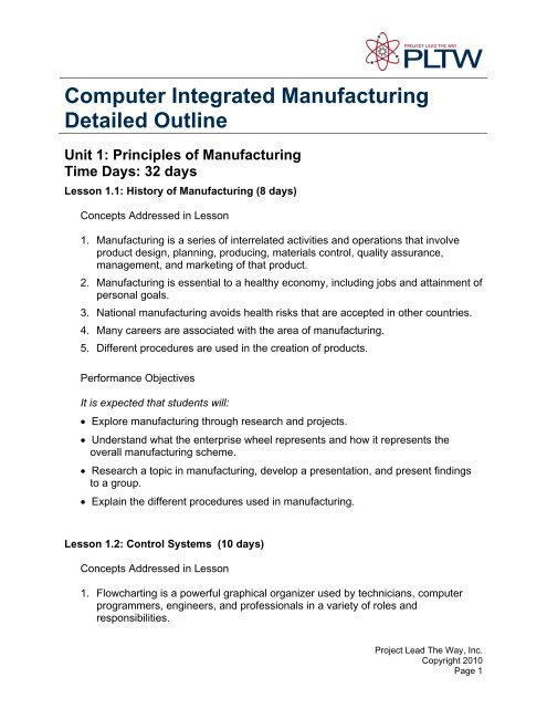 Computer Integrated Manufacturing Detailed Outline