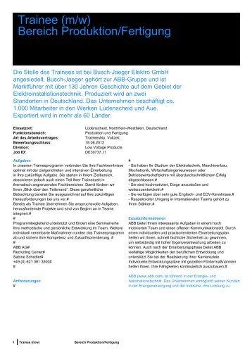 Bereich Produktion/Fertigung - Tag der Elektrotechnik und ...