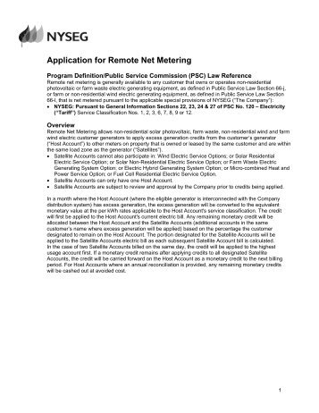 Remote Net Metering Application Form - nyseg