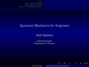 Quantum Mechanics for Engineers - ECS - Baylor University
