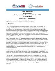 in South Africa August 2012 – February 2 - IntraHealth International