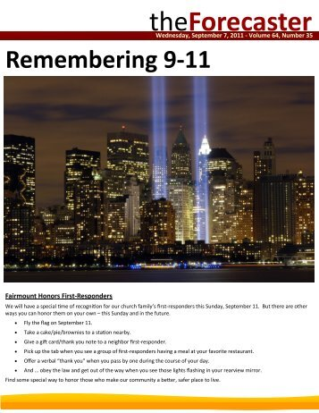Sep 7: Cover Story - Remembering 9/11 - Fairmount Christian Church