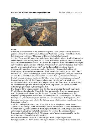 Nächtlicher Kantenbruch im Tagebau Inden