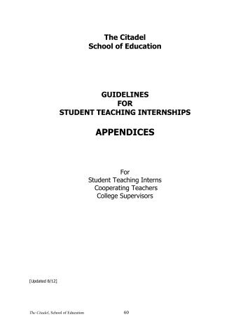 Teacher Education Handbook Appendix - The Citadel