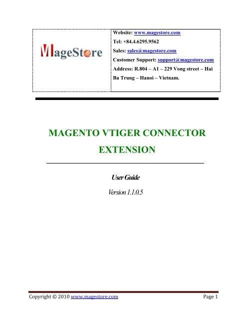 MAGENTO VTIGER CONNECTOR EXTENSION - Magento Extensions
