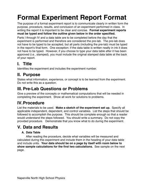physics experiment report sample
