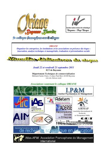 Jeudi 22 et vendredi 23 septembre 2011 ... - IUT Bayonne