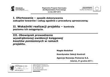Wskaźniki realizacji projektu - Agencja Rozwoju Pomorza SA