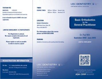 Basic orthodontics general practitioner - UBC Dentistry - University ...