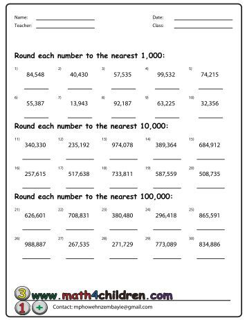 Printables Rounding To The Nearest Hundred Thousand Worksheets how to round nearest 10 000 maths blog rounding up the hundred 100 and math for children