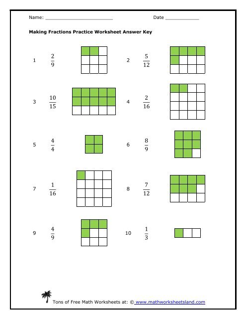 making fractions practice worksheet answer key  math  making fractions practice worksheet answer key  math