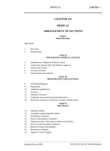 Medical Act - The Bahamas Laws On-Line