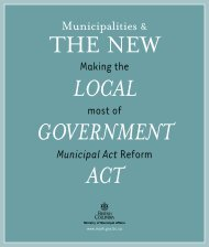 Municipalities and the New Local Government Act - Ministry of ...