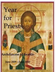 Year for Priests Celebration and Activities - Archdiocese of Seattle