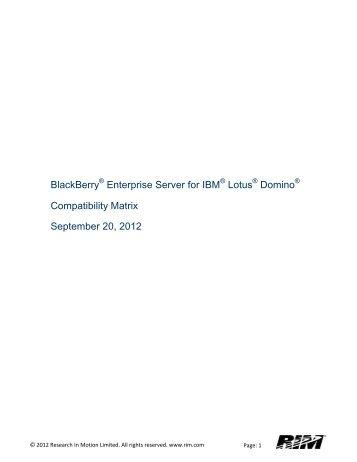 BlackBerry Enterprise Server for IBM Lotus Domino Compatibility ...