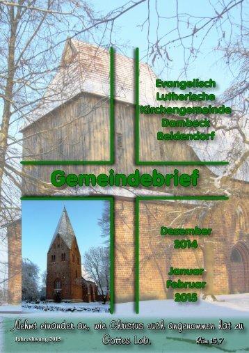 Gemeindebrief der Evangelisch Lutherische Kirchengemeinde Dambeck Beidendorf