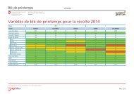 Variétés de blé de printemps pour la récolte 2014 - Agridea