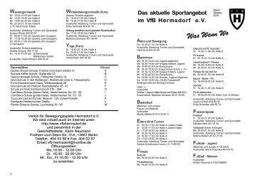 Das aktuelle Sportangebot im VfB Hermsdorf eV