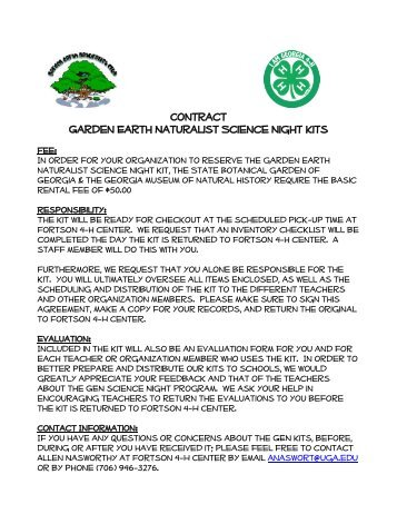 Science Night Kits Reservation & Contract Form - Fortson 4-H Center