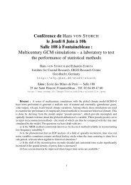 Conférence de Hans VON STORCH le Jeudi 8 Juin à 10h Salle 108 ...