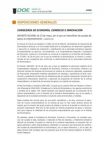 I DISPOSICIONES GENERALES - Diario Oficial de Extremadura
