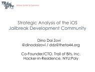Strategic Analysis of the iOS Jailbreak Development ... - Trail of Bits