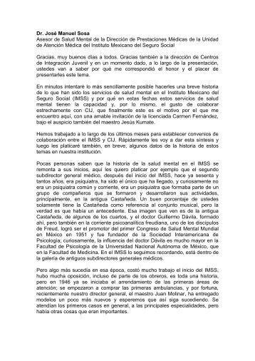 La salud mental en el Instituto Mexicano del Seguro Social