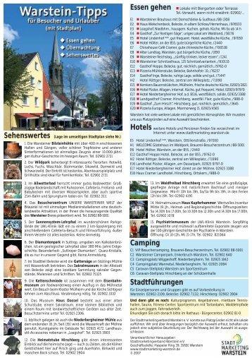 Lage im umseitigen Stadtplan siehe Nr. - Stadtmarketing Warstein