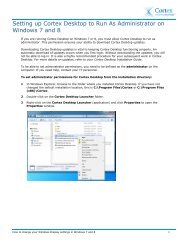Cortex Desktop Settings for Windows 7 and 8 Quick Reference