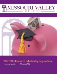 2012-2013 Endowed Scholarship Application - Missouri Valley ...