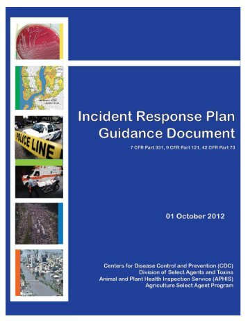 Incident Response Plan Guidance Documen - Select Agent Program