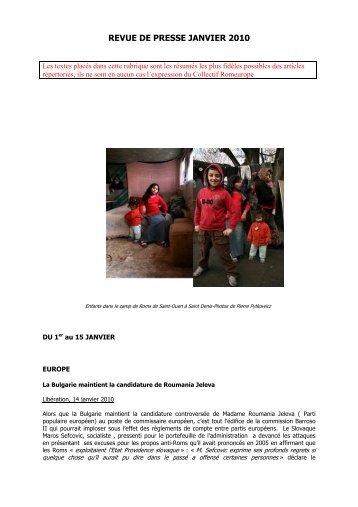 Revue de presse Janvier 2010 - Romeurope