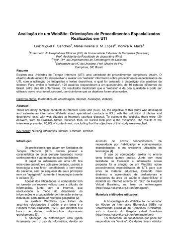 Avaliação de um WebSite: Orientações de Procedimentos ...