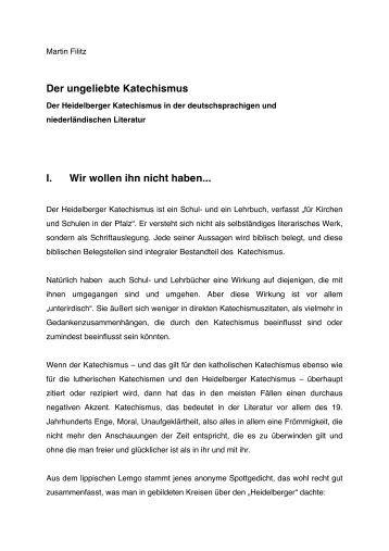 Martin Filitz, Der ungeliebte Katechismus – Der Heidelberger ...