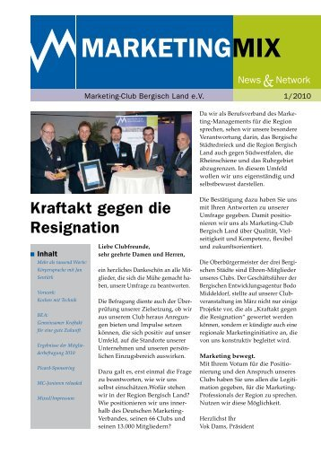 Ausgabe 1/2010 - Marketing Club Bergisch Land eV