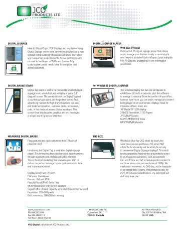 Ideal for Digital Signs, POP Displays and retail ... - JCO Products