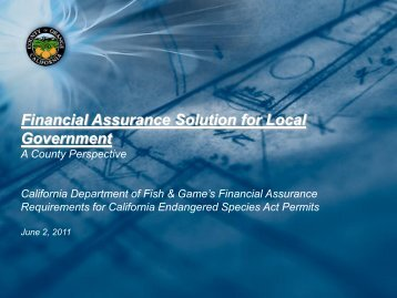Financial Assurance Solution for Local Government - OC Public ...