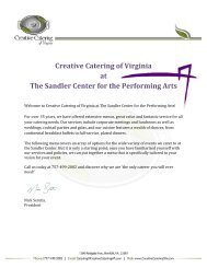 Creative Catering of Virginia at The Sandler Center for the ...