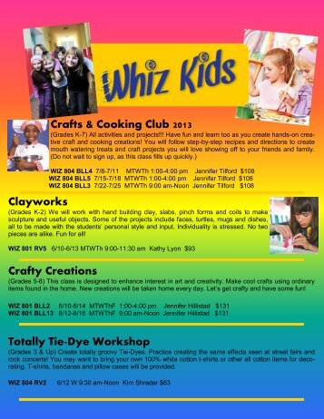 Whiz Kids Crafts & Cooking Club - Posted