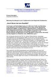Auch Strom hat eine Qualität! - Marketing Club Bergisch Land eV