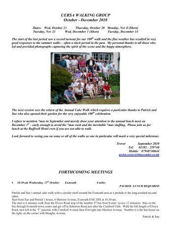 UERSA WALKING GROUP October - December 2010 ...
