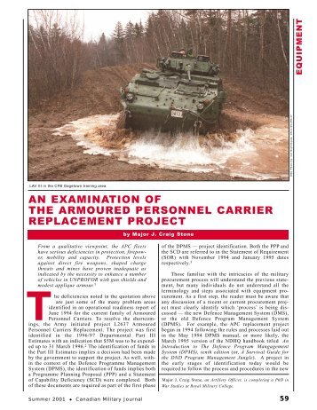 an examination of the armoured personnel carrier replacement project