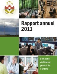 Rapport annuel 2011 - Auditor General of Ontario