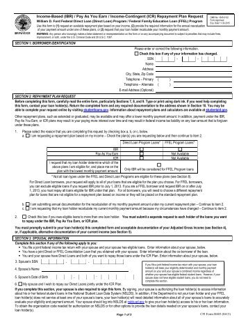 Download Income Based Repayment (IBR) PDF Form   College .